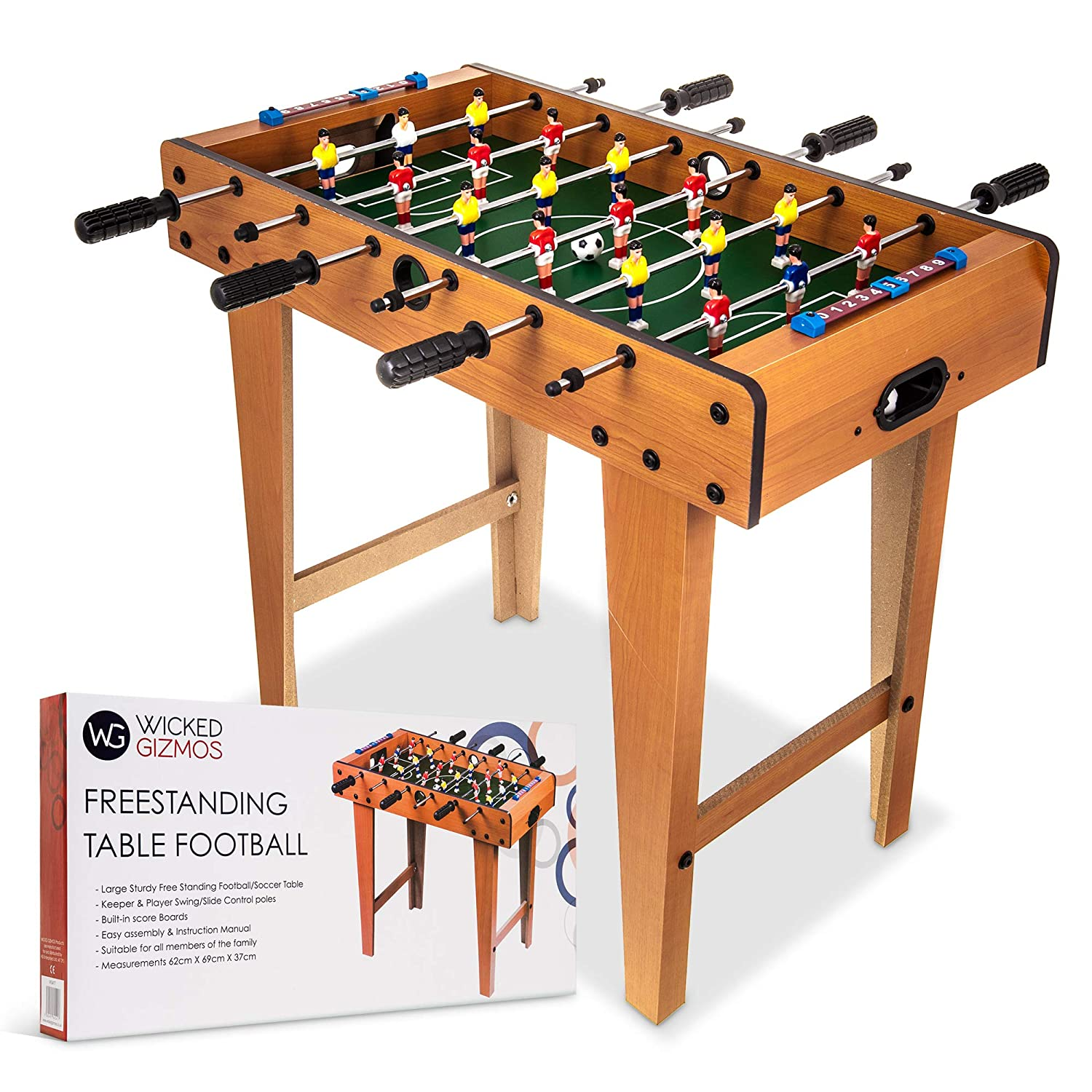 Includes 9 Players per Side and 2 Balls Large Free Standing Quality Wooden Foosball Soccer Sport Board Classic Novelty Retro Toy Gadget Gift WICKED GIZMOS /® Table Top Football Game with Legs