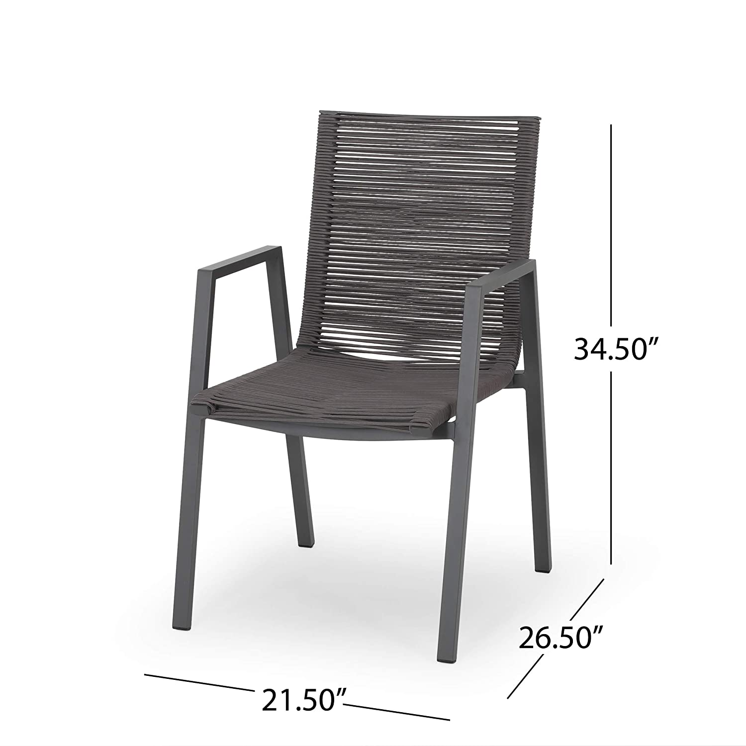 Patio Dining Chairs Elma Outdoor Modern Aluminum Dining Chair with ...