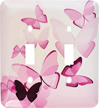 3drose Llc Lsp 101506 2 Pretty Pink Transparent Butterflies Double Toggle Switch Electrical Switches Amazon Com
