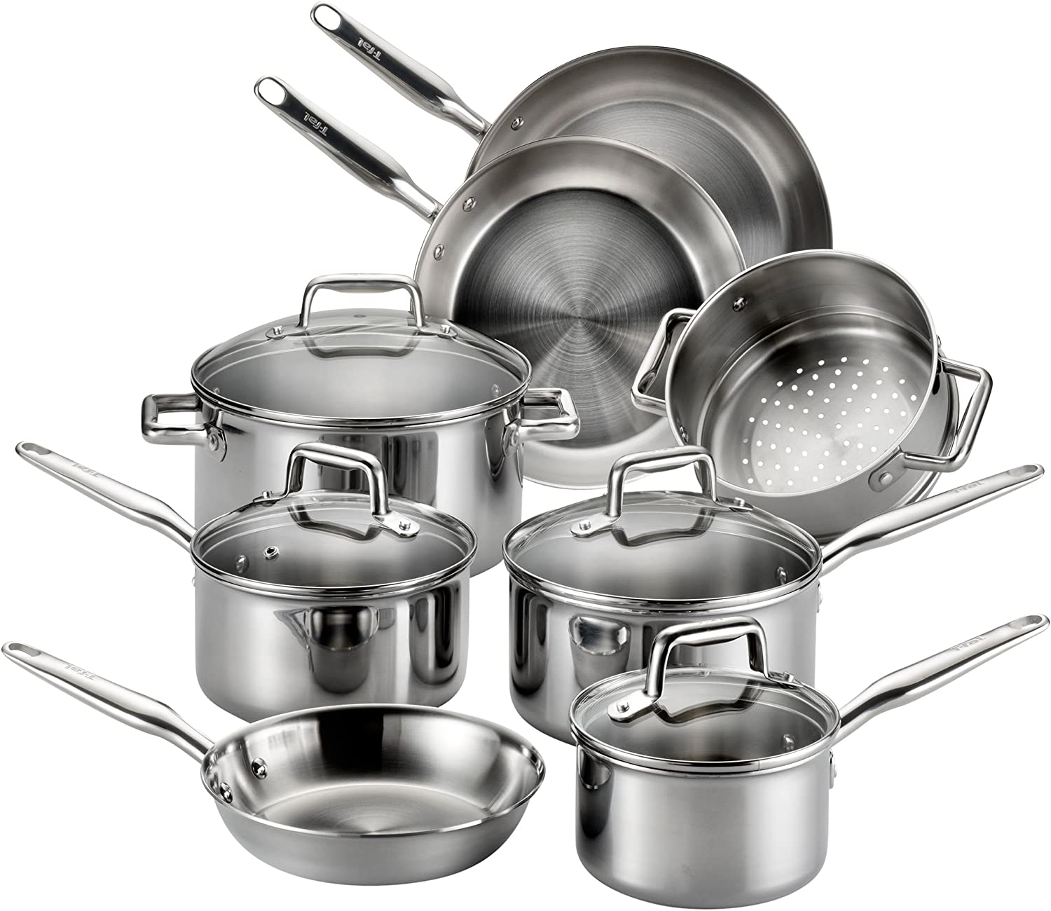 T-fal stainless steel cookware, multi-clad, dishwasher safe, and oven safe cookware set
