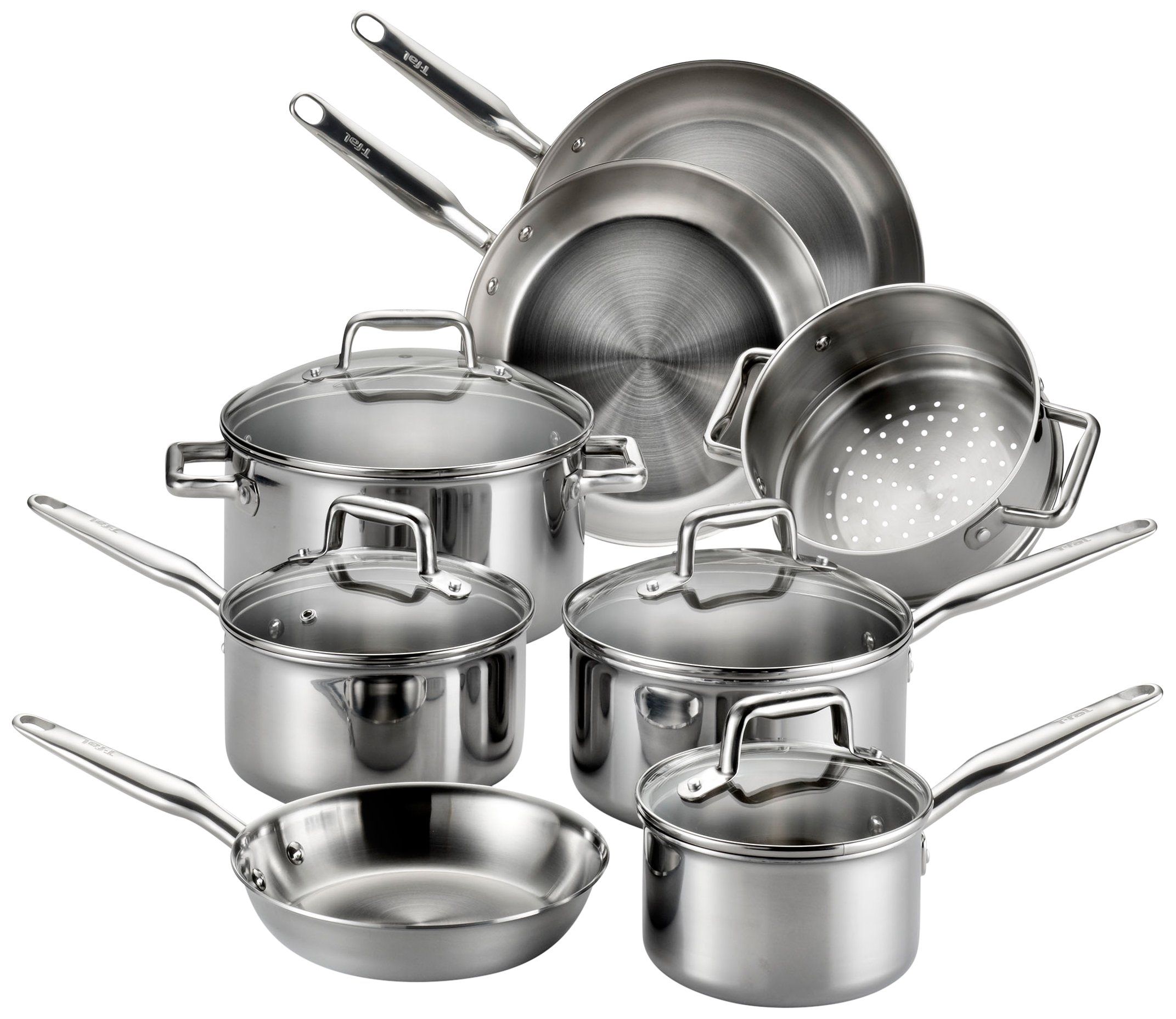 T-fal E469SC Tri-ply Stainless Steel Multi-clad Dishwasher Safe Oven Safe Cookware Set, 12-Piece, Silver by T-fal