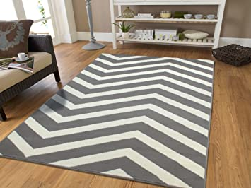 Amazon.com: Century Collection Chevron Rugs Large 8x11 Grey and ...
