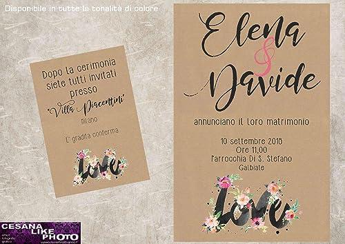 Partecipazioni Matrimonio Carta Kraft.Partecipazioni Matrimonio Personalizzate Inviti Nozze Love Con