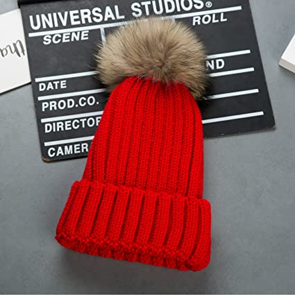 Cappello Invernale Donna Beanie Cappelli di Lana con Pon Pon Berretti da  Pingenaneer (Rosso) 073561c48905