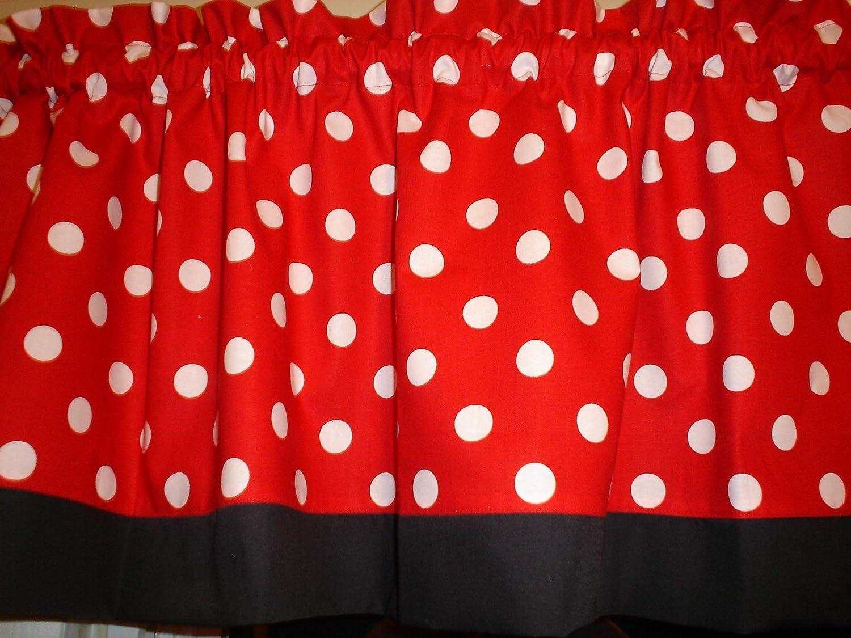 Red Black White Mickey Minnie Mouse Polka Dot Bedroom Kitchen Window Treatment Valance Fabric Decor