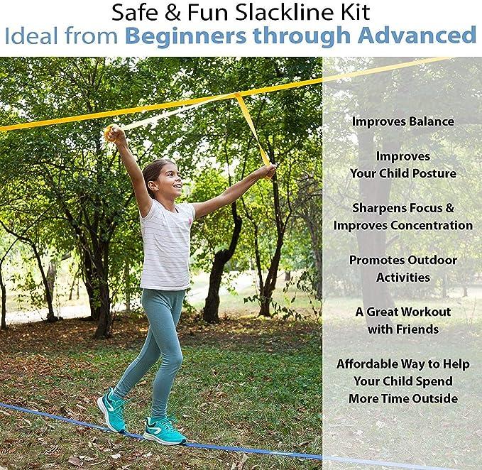 Amazon.com: Hazli Slackline Set para patio trasero con línea ...
