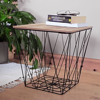 Retro Side Table Black Metal Wire Square Wood Top Storage Basket Home Furniture