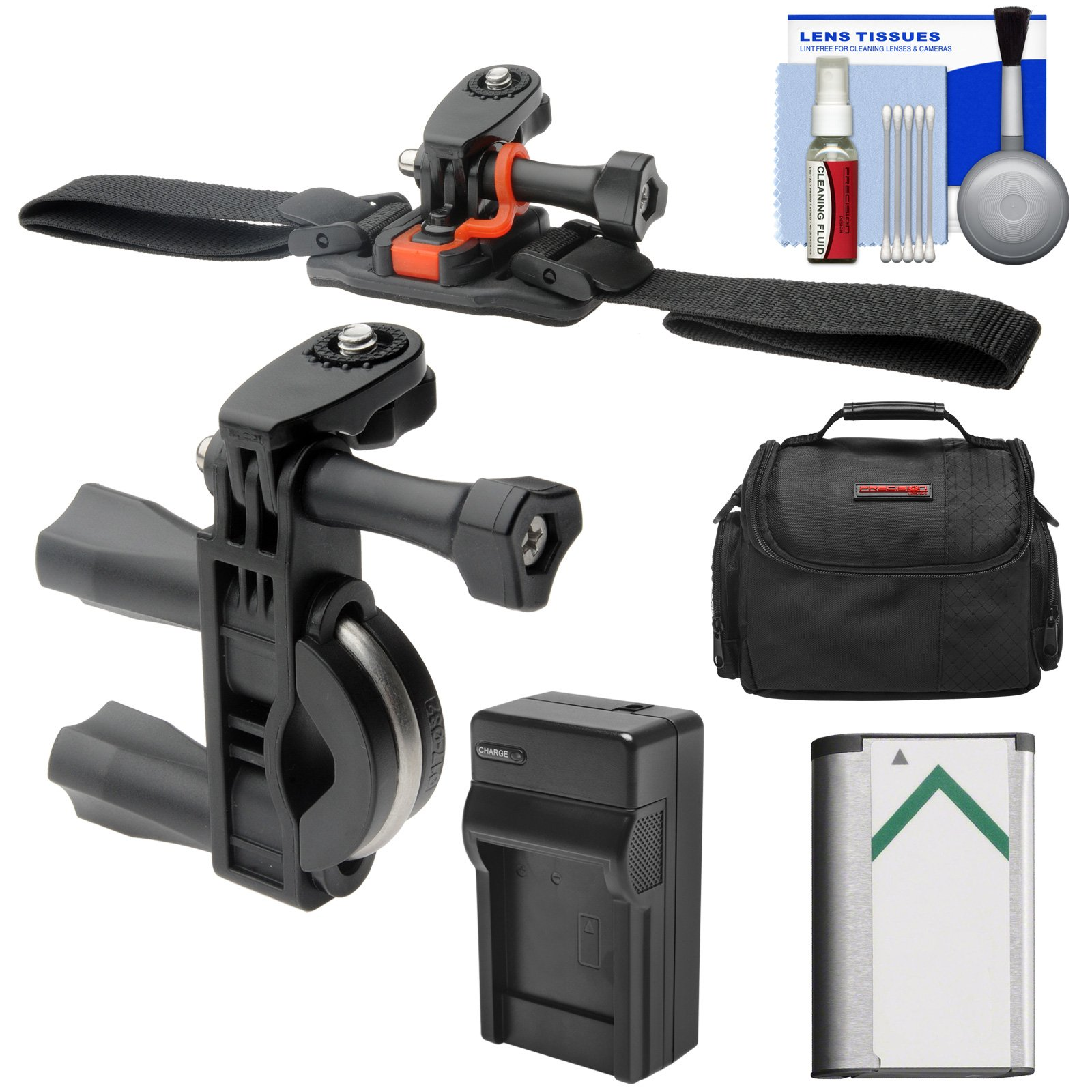Essentials Bundle for Sony Action Cam HDR-AS50, AS200, AS300, FDR-X1000V & X3000 Camcorder with Handlebar Bike & Vented Helmet Mounts + Battery + Charger + Case + Accessory Kit