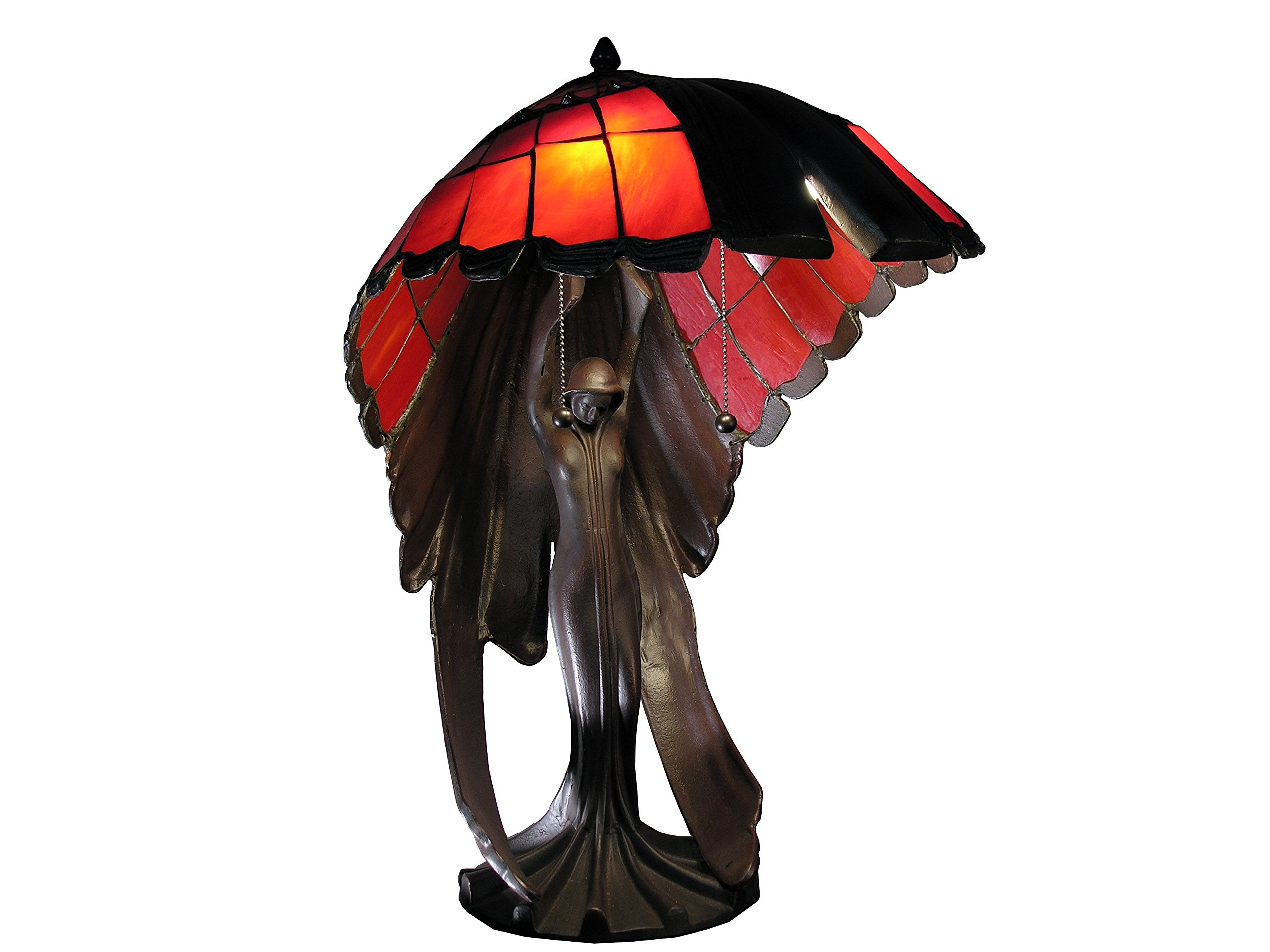 Whse of Tiffany TF191625IR Karlie Flying Lady Red 2-Light Tiffany-Style Table Lamp by Whse of Tiffany