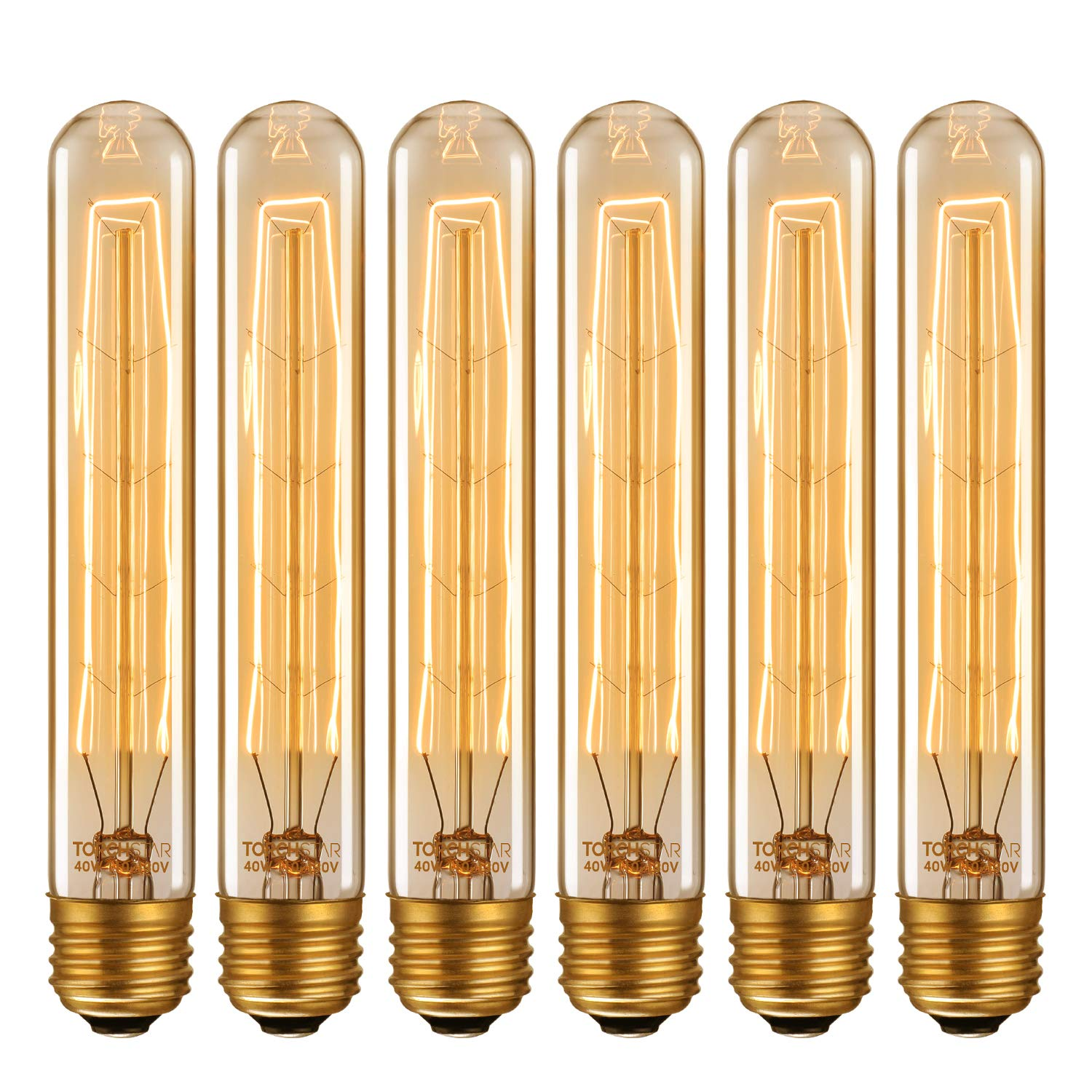 TORCHSTAR Vintage Edison Bulb, Dimmable 40W T30 Antique Filament Light Bulb, T185 Tubular Bulb, E26 Base, 2200K Amber Light, for Pendant, Chandelier, Lantern, Wall Sconce, Pack of 6