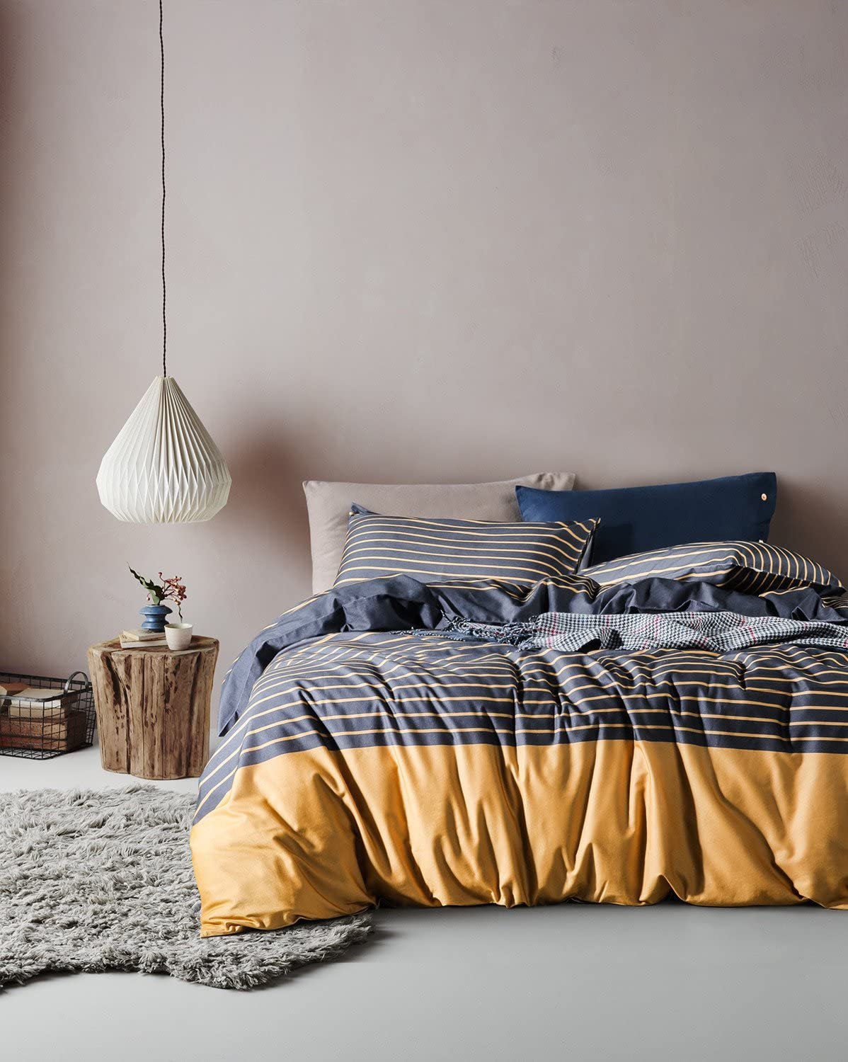 UFO Home Home 100% Cotton Flannel 3pc Duvet Cover Set, Yarn-Dyed Bedding Set, 600 Thread Count High Percale, Yellow Dark Blue Stripes Design (Full, Caspar)