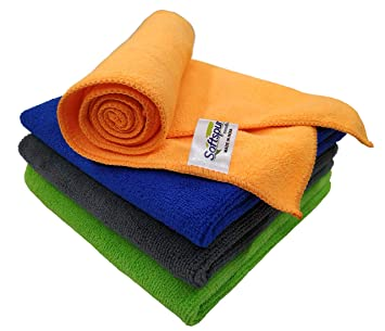 SOFTSPUN Microfiber Cleaning Cloths, 4pcs 40x40cms 340GSM Multi-Colour! Highly…