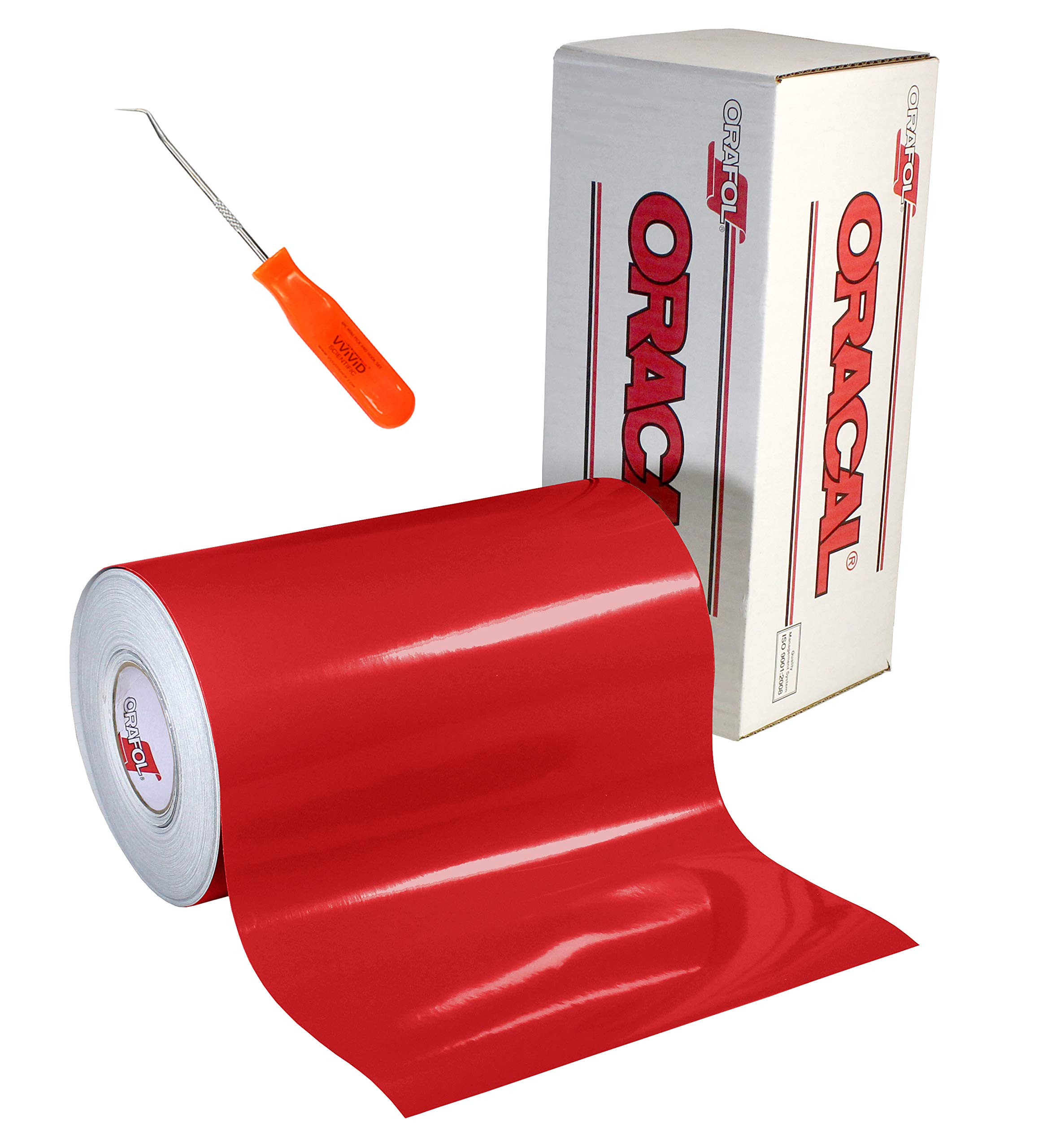 ORACAL 651 Gloss Red Self-Adhesive Craft Vinyl Roll (12'' x 30ft + Weeder)