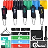 Resistance Bands with Variable Resistance [16 pieces] – ODOLAND Training Bands, Handle +Ankle Strap +Door Anchor +Training Guide