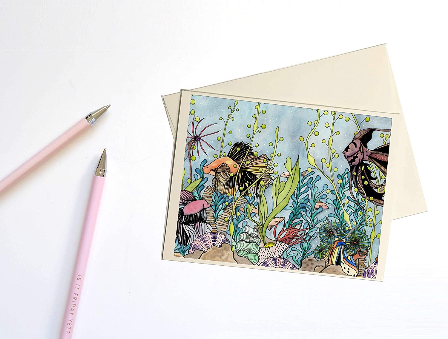 Fantasy Inspired Watercolor Note Card Quest of the Goldfish ...