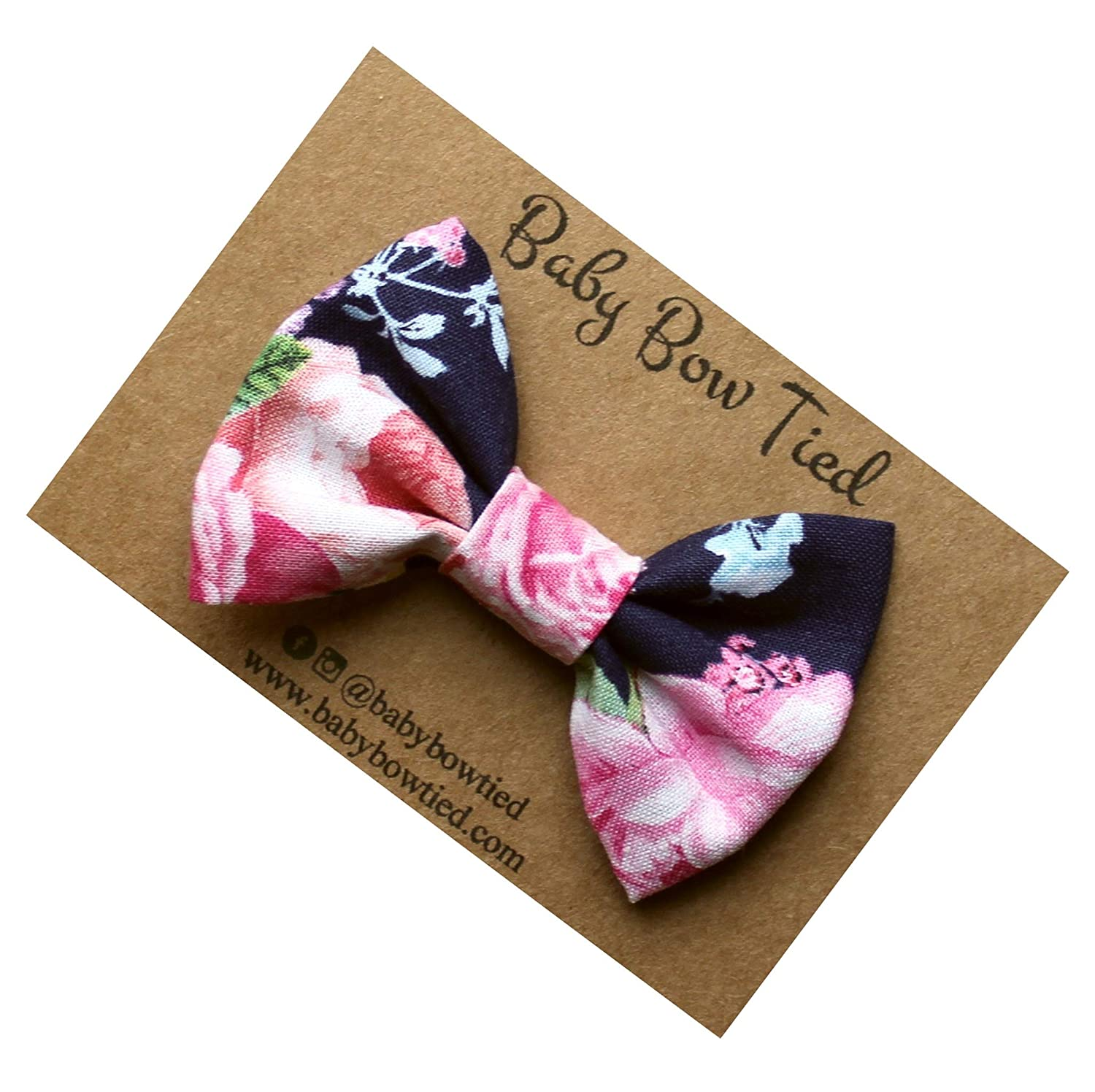 Handmade Navy Floral Pre-tied Clip on Bow Tie for Baby/Toddler