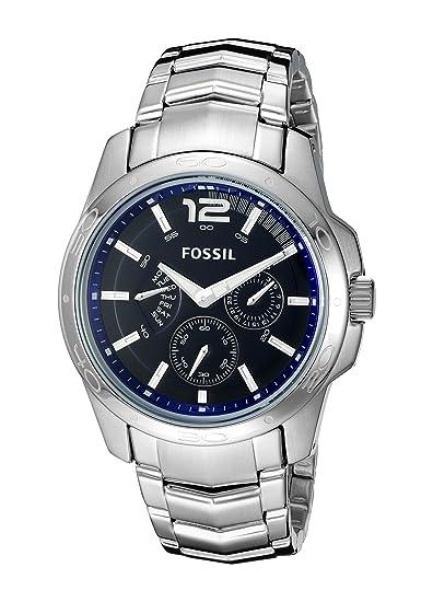 Fossil BQ9346 - Reloj analógico de Cuarzo para Hombre, Correa de Acero Inoxidable Color Plateado