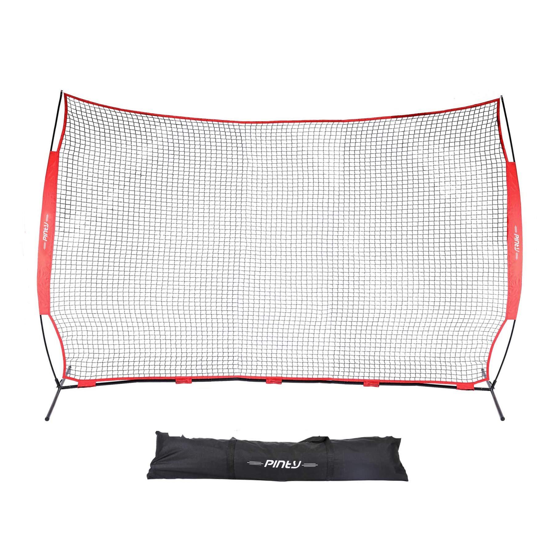 Pinty Barricade Backstop Net 12×9 ft, Backstop Net for Lacrosse, Baseball, Basketball, Soccer, Field Hockey and Softball Practice/Barrier Net Hitting Net for Backyard, Park, etc. with Carry Bag by Pinty