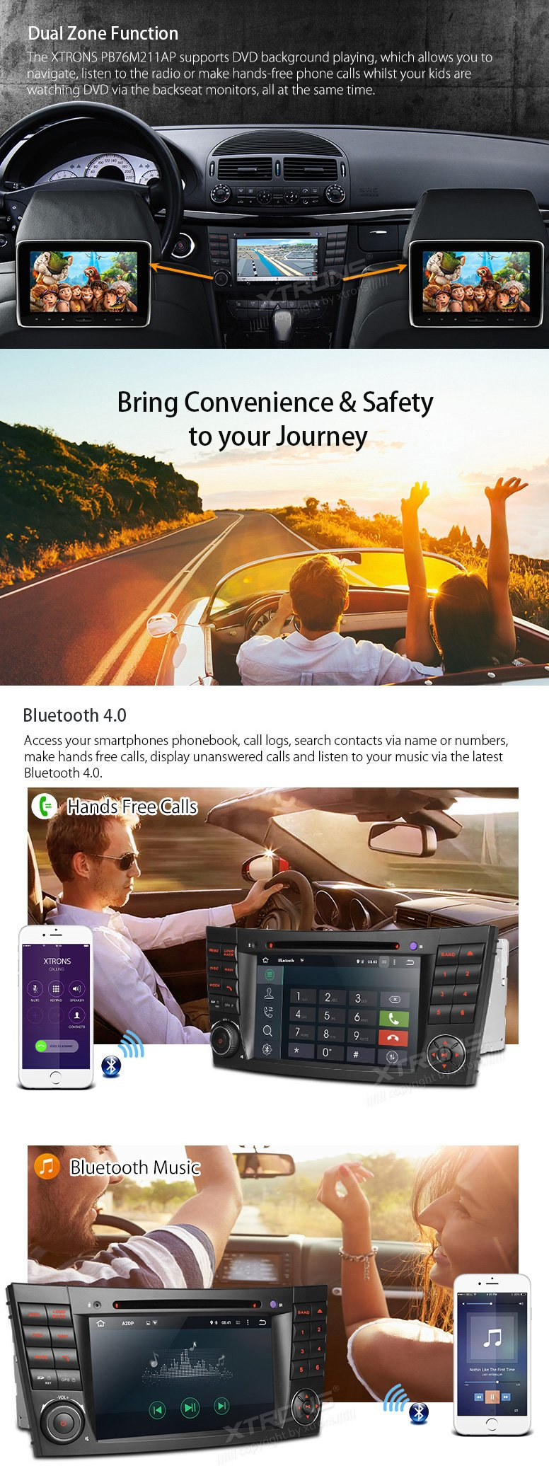 XTRONS Android 6.0 Octa-Core 64Bit 7 Inch Capacitive Touch Screen Car Stereo Radio DVD Player GPS CANbus Screen Mirroring Function OBD2 Tire Pressure Monitoring for Mercedes-Benz E-Class W211 by XTRONS (Image #6)
