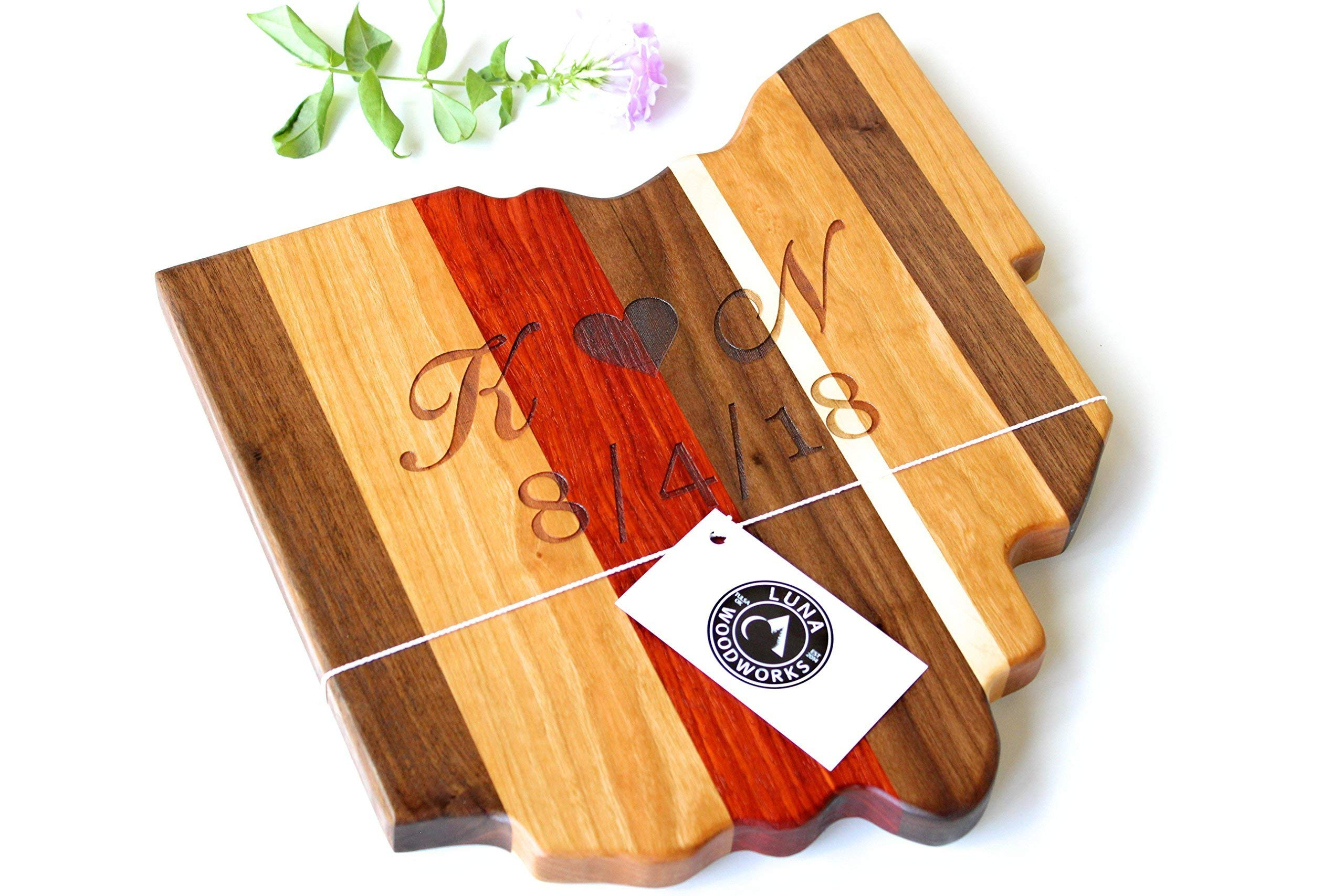 Ohio Cutting Board Engraved Personalized Wood Wedding Anniversary Gift Buckeye Football University Artisan Closing Gift Chef State Cooking Wall Art Woodworking Cheese Handmade in USA