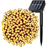 Solar Powered String Fairy Lights 200 LEDs 66FT, 20M Waterproof Outdoor Decorative Christmas Lights for Christmas Tree,Party,Wedding,Festival Holiday,Indoor,Garden, Patio Decoration-Warm white