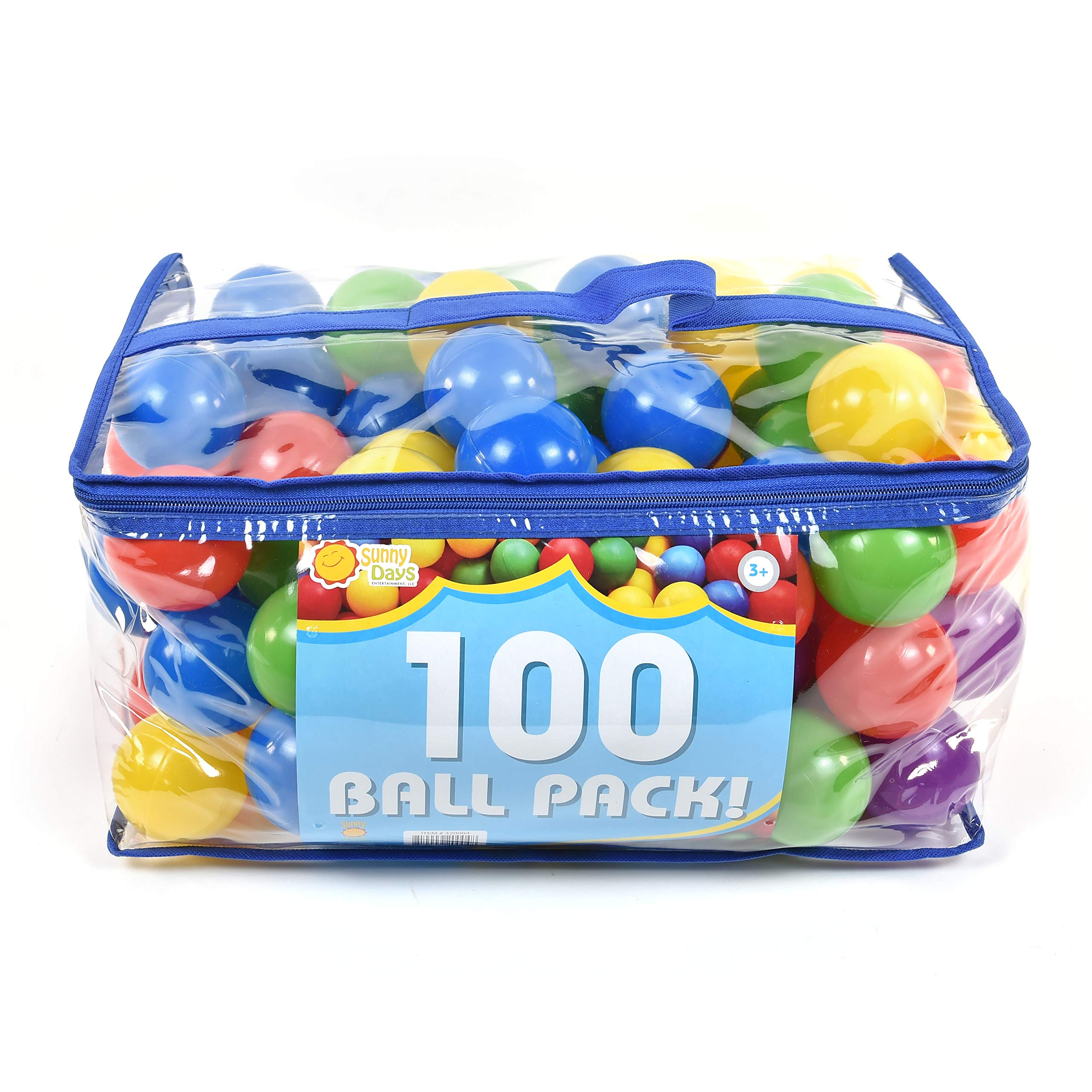 Sunny Days Entertainment 100Count Ball Pit Refills, Phthalate Free & Bpa Free, Crushproof Plastic in Assorted Colors by Sunny Days Entertainment