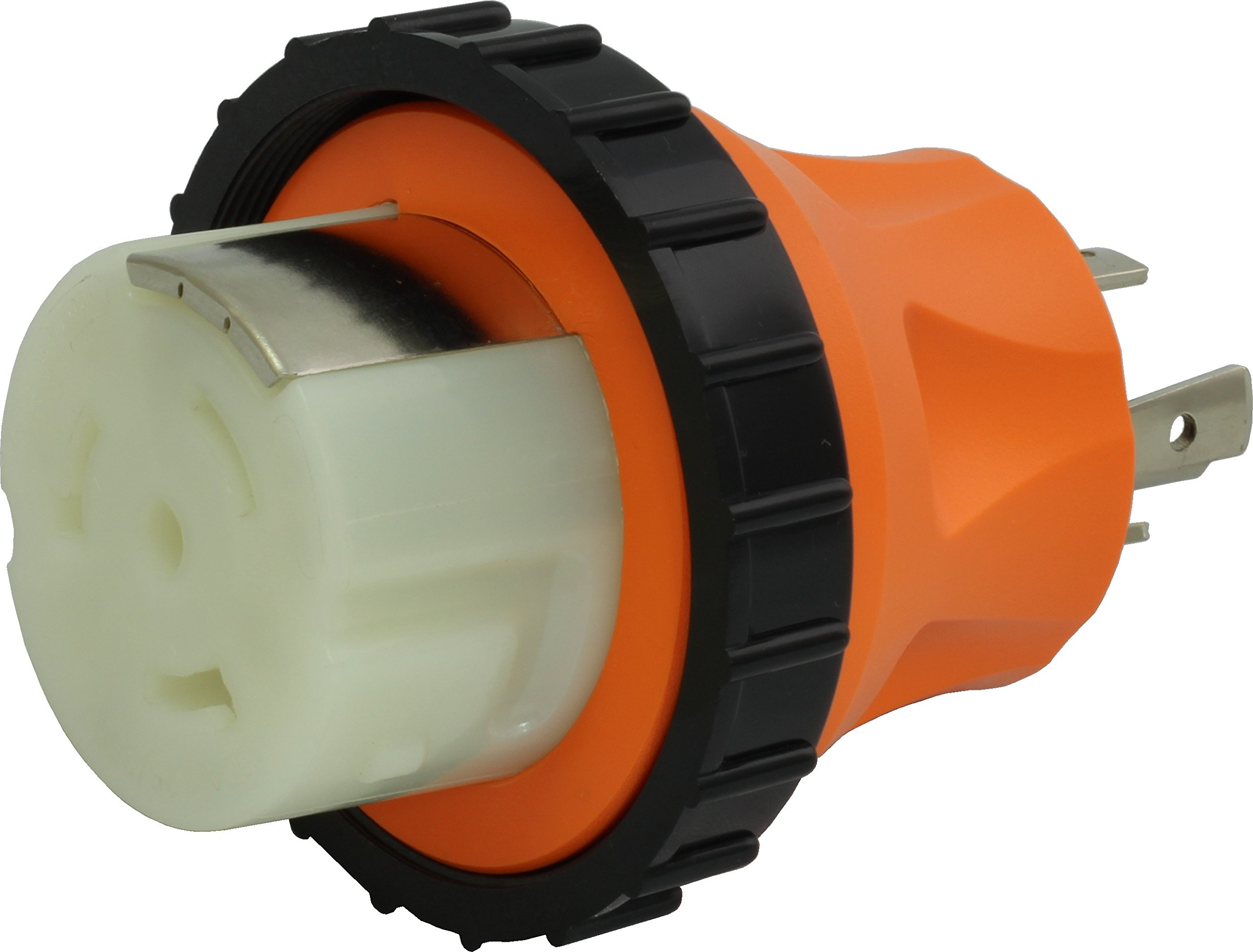 AC WORKS 50Amp RV Marine Detachable Adapter (L14-30P 30A 4-Prong Locking Plug-Compact)