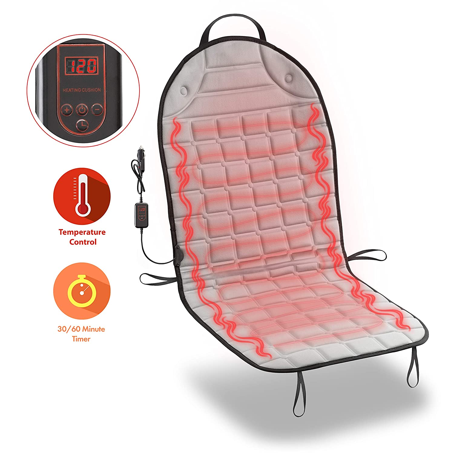 Zone Tech Car Heated Seat Cover Cushion Hot Warmer - Fireproof New and Improved 2019 Version 12V Heating Warmer Pad Cover Perfect for Cold Weather and Winter Driving SE0041