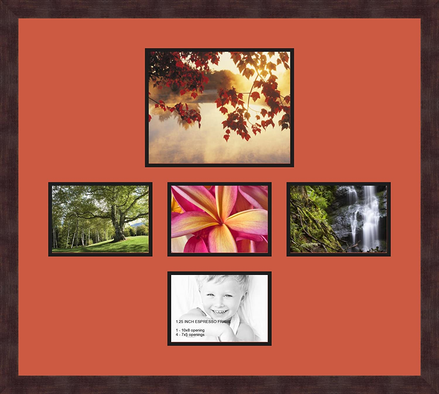 Art to Frames Double-Multimat-186-766//89-FRBW26061 Collage Frame Photo Mat Double Mat with 1-8x10 and 4-5x7 Openings and Espresso Frame