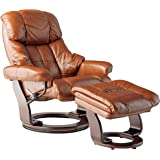 Coja by Sofa4life Chambery Leather Recliner and Ottoman Cognac