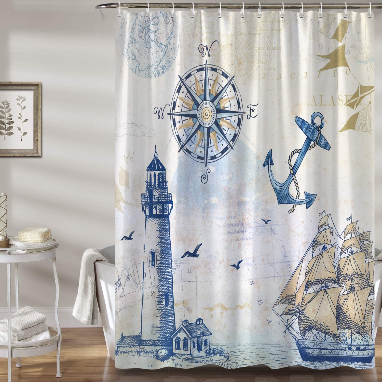 Bonhause Nautical Sailboat Shower Curtain with 12 Hooks Lighthouse Compass Anchor Decorative Bath Curtain 72 x 72 Inch Polyester Fabric Machine Washable Waterproof Bathroom Curtain