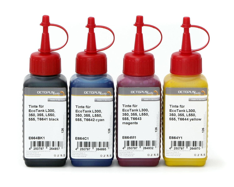 4 botes de 250 ml de tinta, tinta de impresión para Epson EcoTank ...