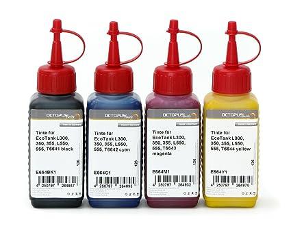 Tinta para impresora Epson EcoTank L300, 350, 355, L550, 555, color 4x 1000ml Schwarz, Cyan, Magenta, Yellow