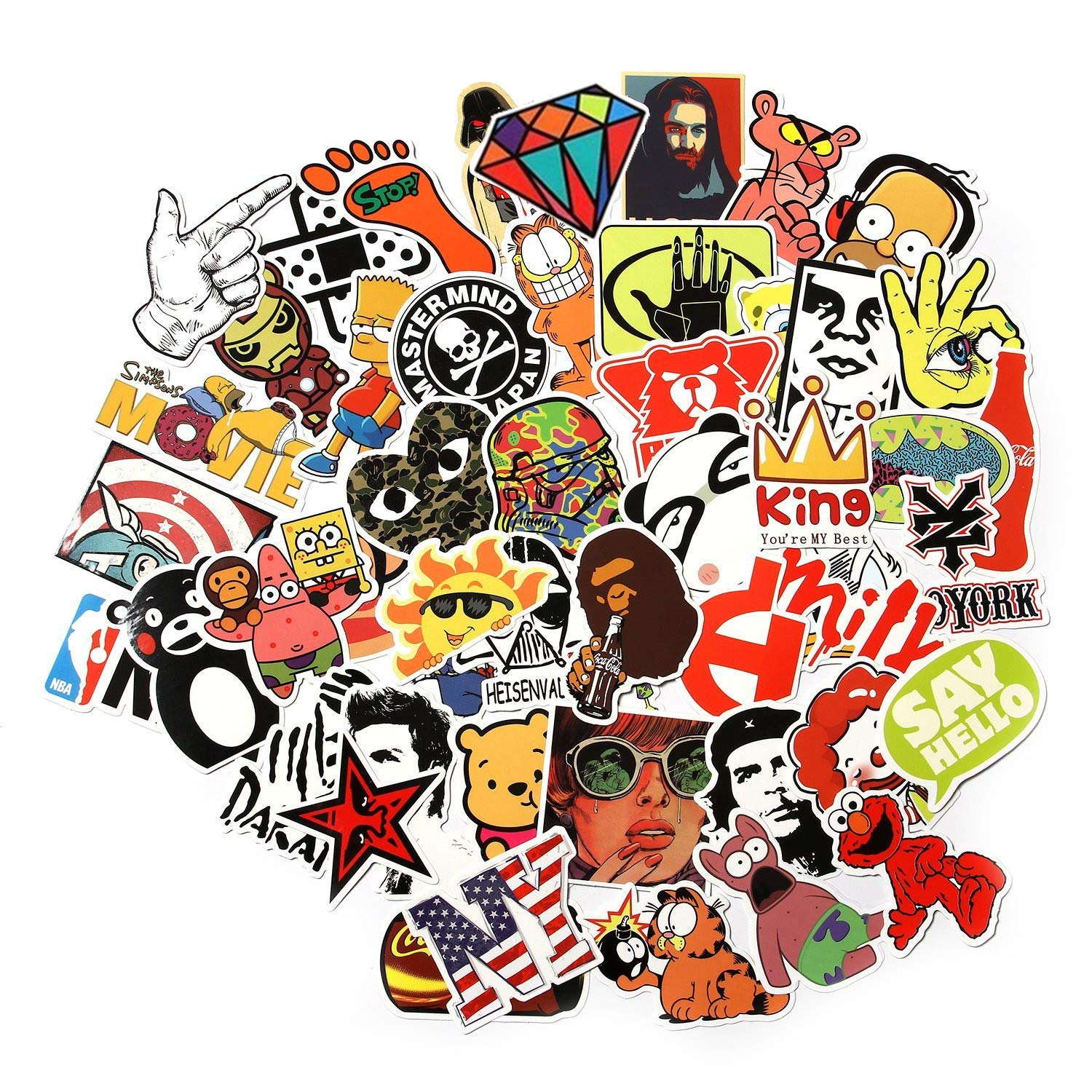 Sticker Pack Decals Vinyls for Laptop,Kids,Cars,Motorcycle,Bicycle,Skateboard Luggage,Bumper Stickers Hippie Decals bomb Waterproof Random 200Pcs