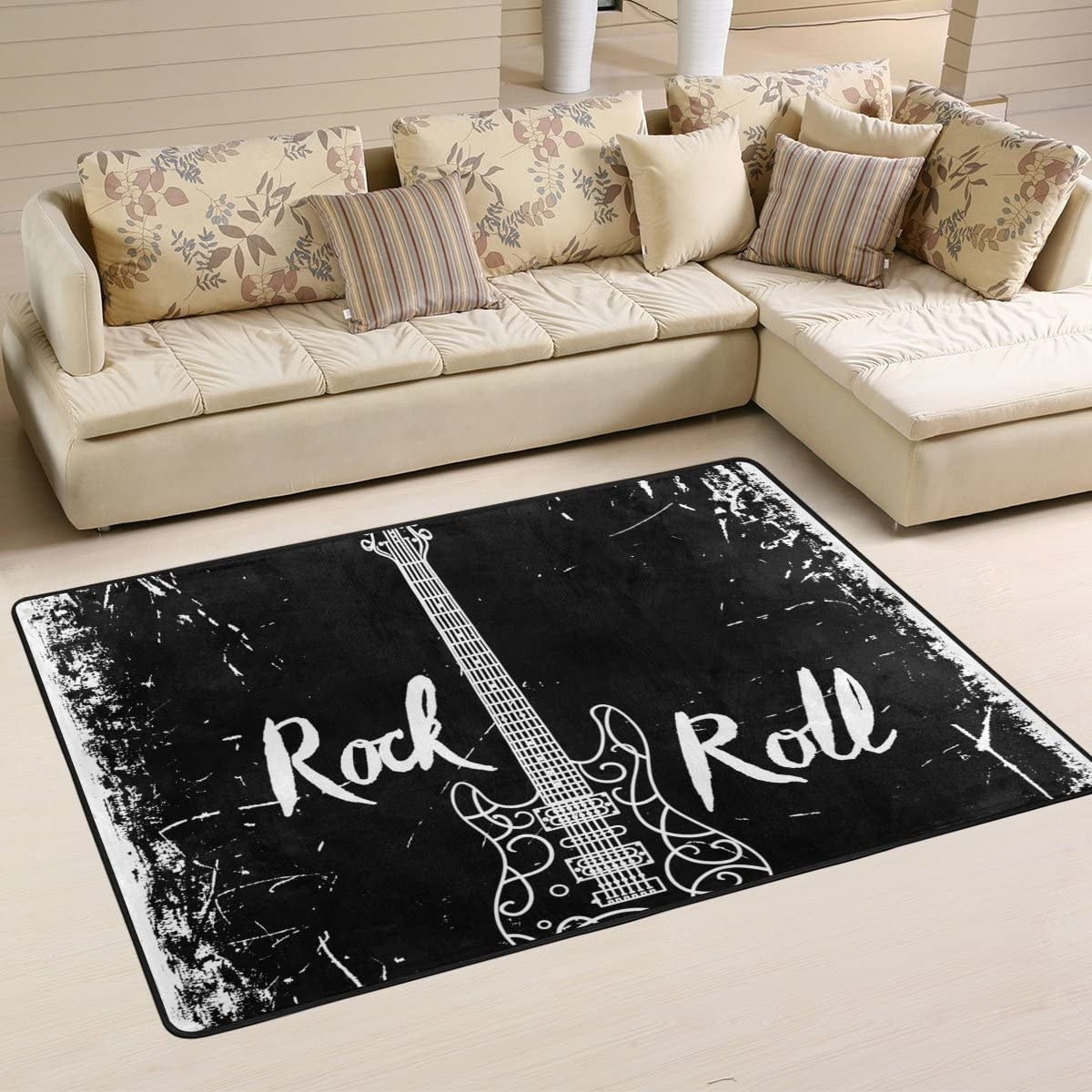 LORVIES Electric Guitar and Lettering Rock Roll On Grunge Background Area Rug Carpet Non-Slip Floor Mat Doormats for Living Room Bedroom 72 x 48 inches
