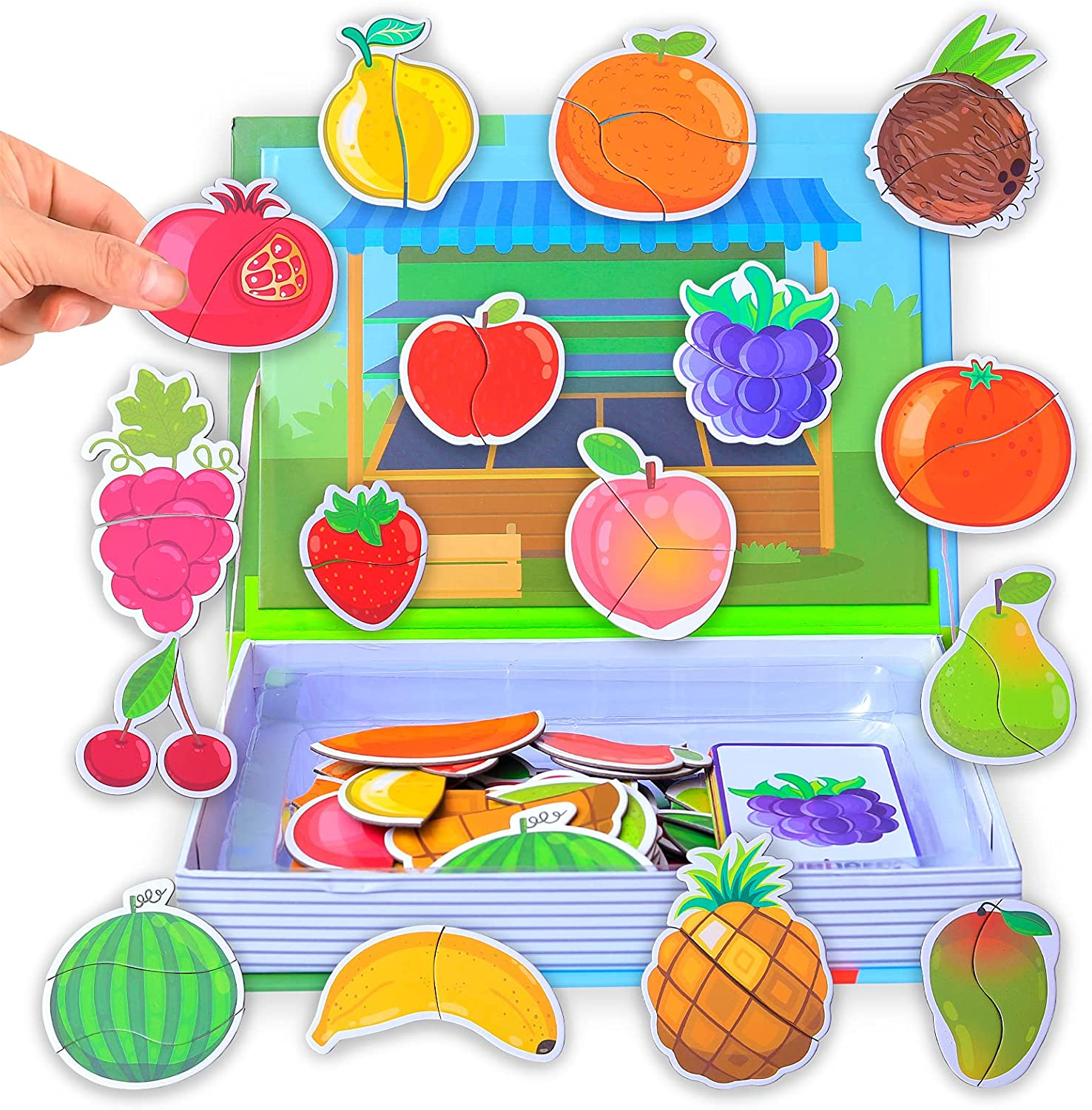 JITEBTI Fruit Magnetic Puzzles Play Scene 36 Piece to Help Children Recognize 16 Kinds of Food and Fruits,Easy to Carry Kids Magnets Travel Games, Fruit Toys for Kids 3-5 Birthday Gift