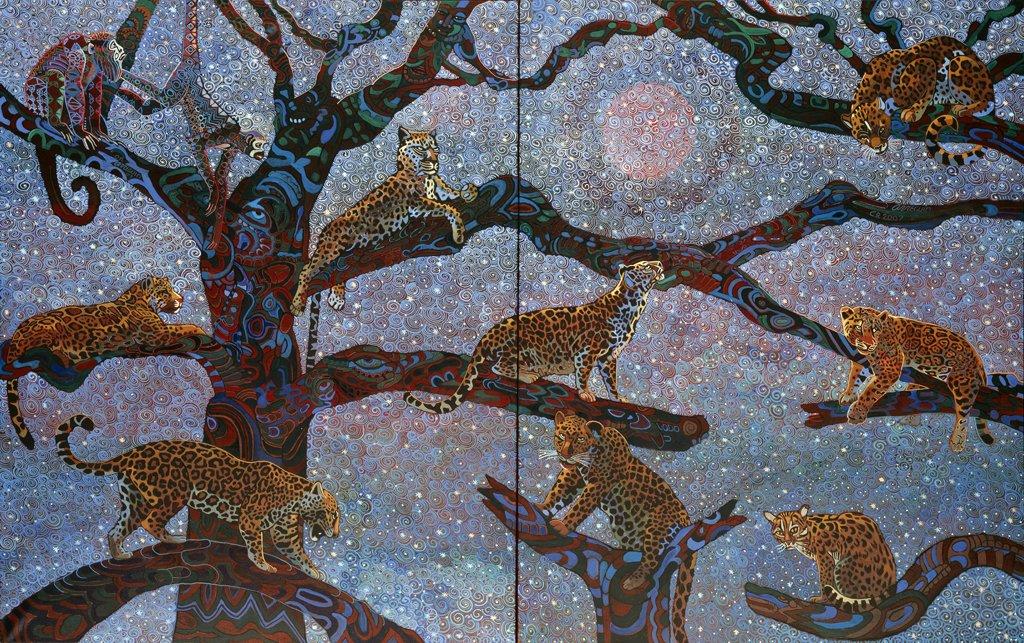 Artifact Puzzles - Alfredo Arreguin Jaguars Diptych Wooden Jigsaw Puzzle
