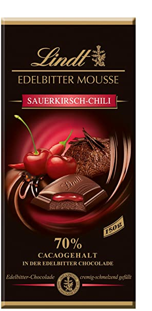 Lindt Creation Tableta de Chocolate Negro 70% Relleno de Mousse Y Coulis de Cereza con
