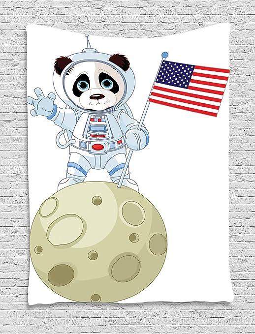ABAKUHAUS Panda Tapiz de Pared, Dibujos Animados de Astronauta en ...