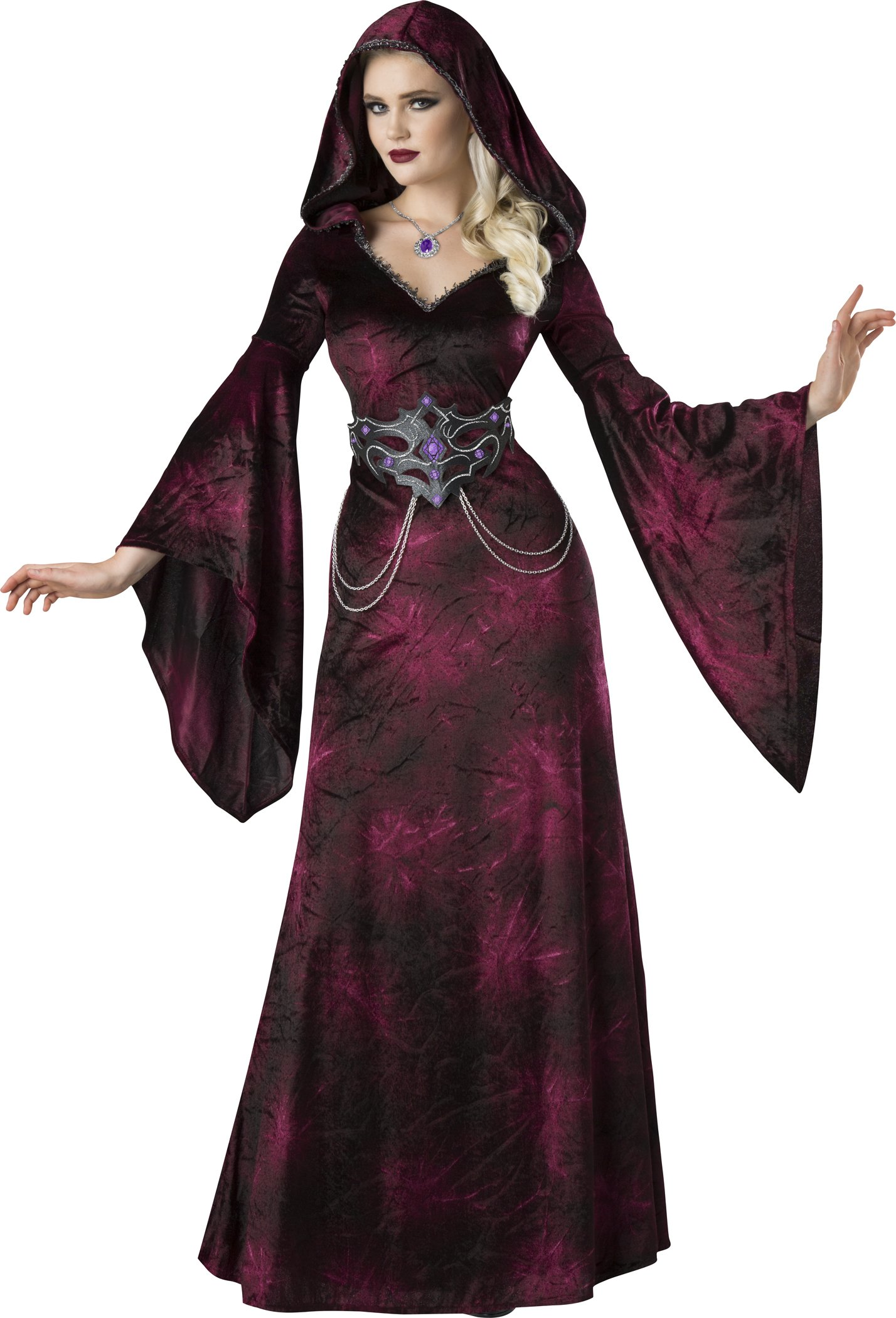 Fun World Women's Dark Realm Sorceress, Burgundy/Black, L