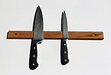 """Hand Crafted Hard Wood Magnetic Knife Rack, 18"""" Oak, Wall Mounted"""