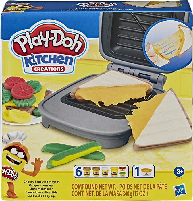 Play-Doh Kitchen Creations Cheesy Sandwich Play Food Set for Kids 3 Years and Up Elastix Compound and 6 Additional Colors: Amazon.co.uk: Toys & Games