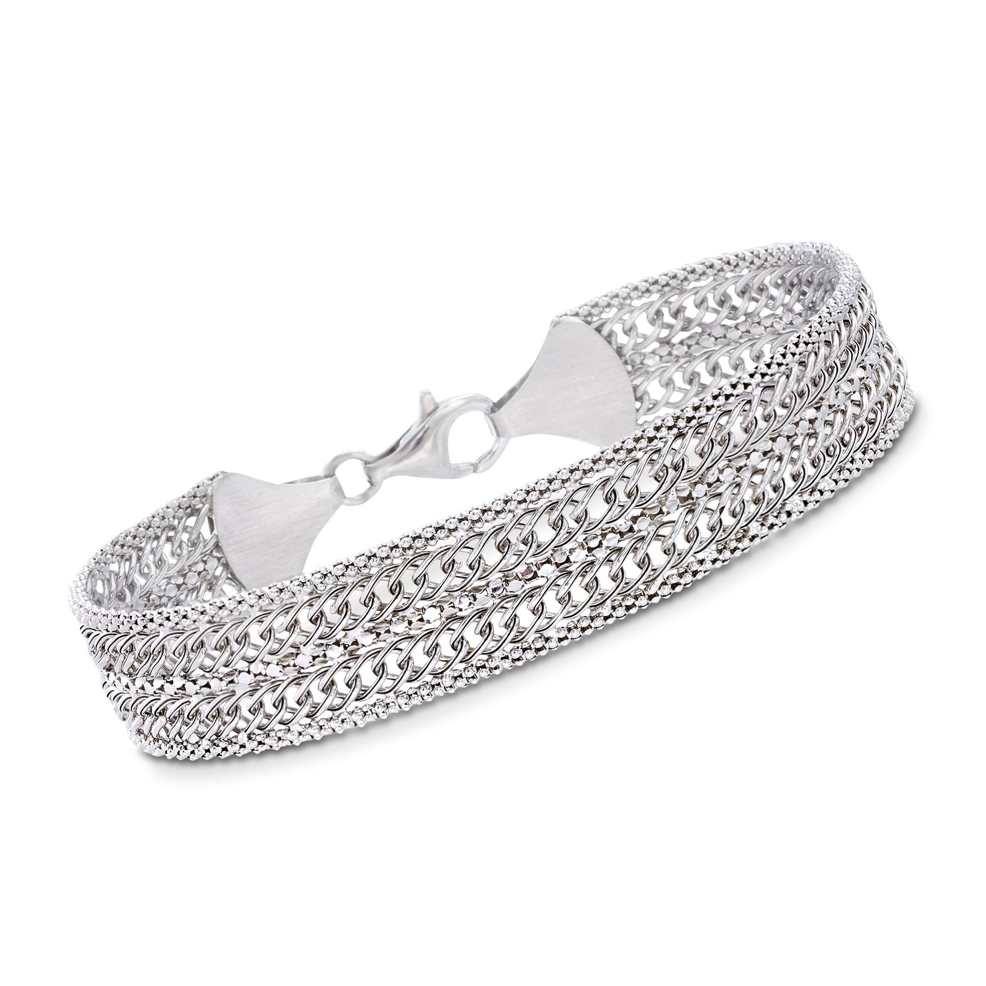 Ross-Simons Italian Sterling Silver Popcorn Chain and Curb-Link Bracelet by Ross-Simons