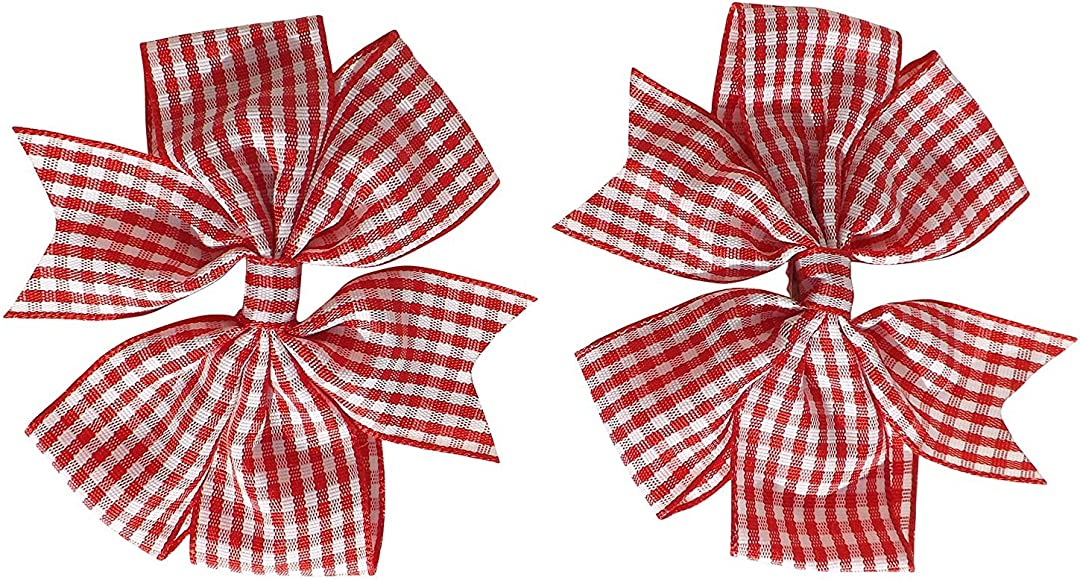 Handmade Girls Hair Bow Bobbles Double Gingham Red Sold In Pairs