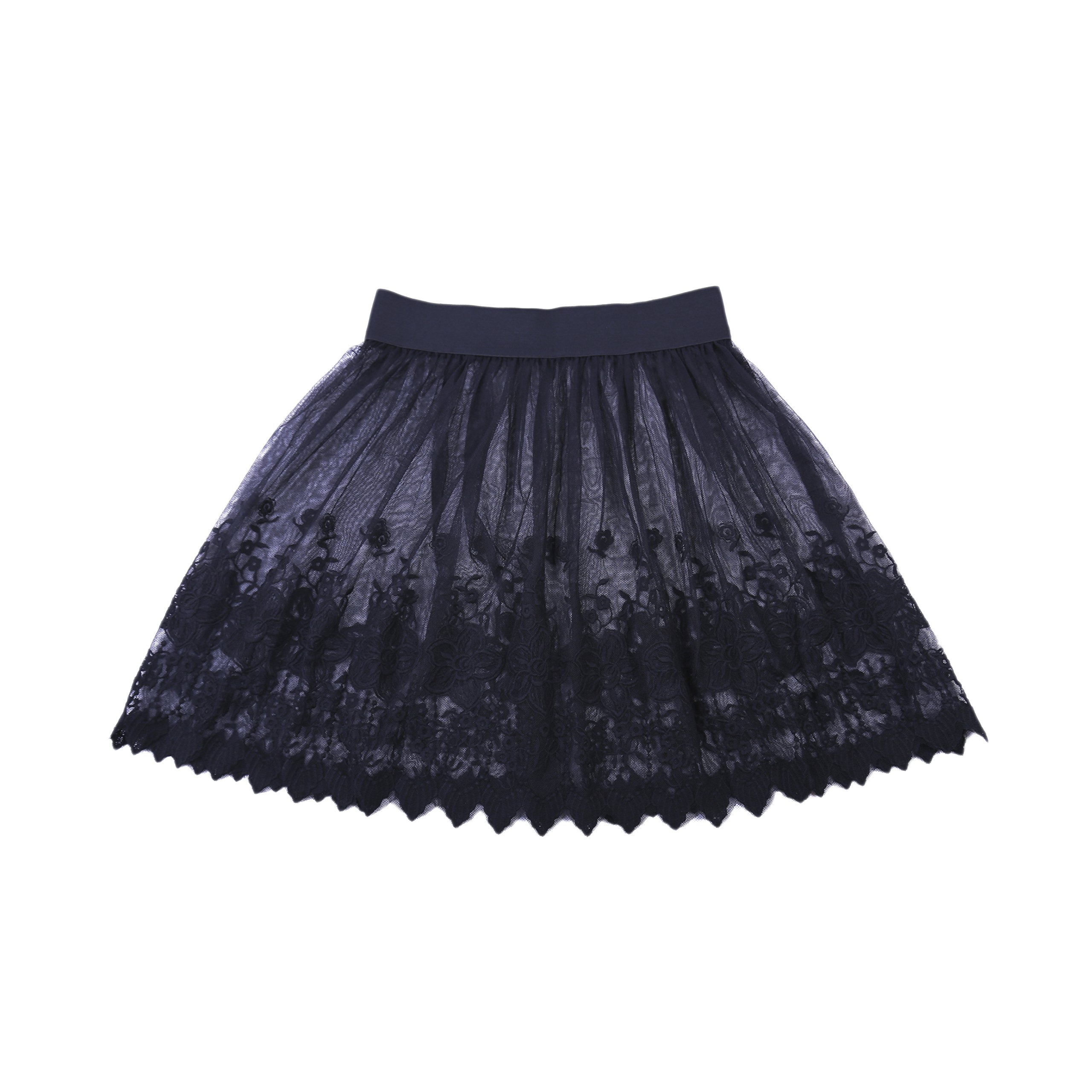 Dorchid Girls' Lace Flower Wedding Half Skirts 3 Layers for Underdress Black