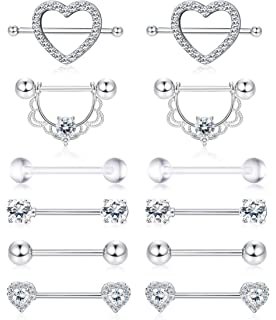 Cisyozi Stainless Steel 14g Nipple Nipplerings Piercing for Women Men Tongue Shield Ring Barbell Body Piercing Jewelry Retainer 9//16 Inch 14mm 7 Pairs-10 Pairs