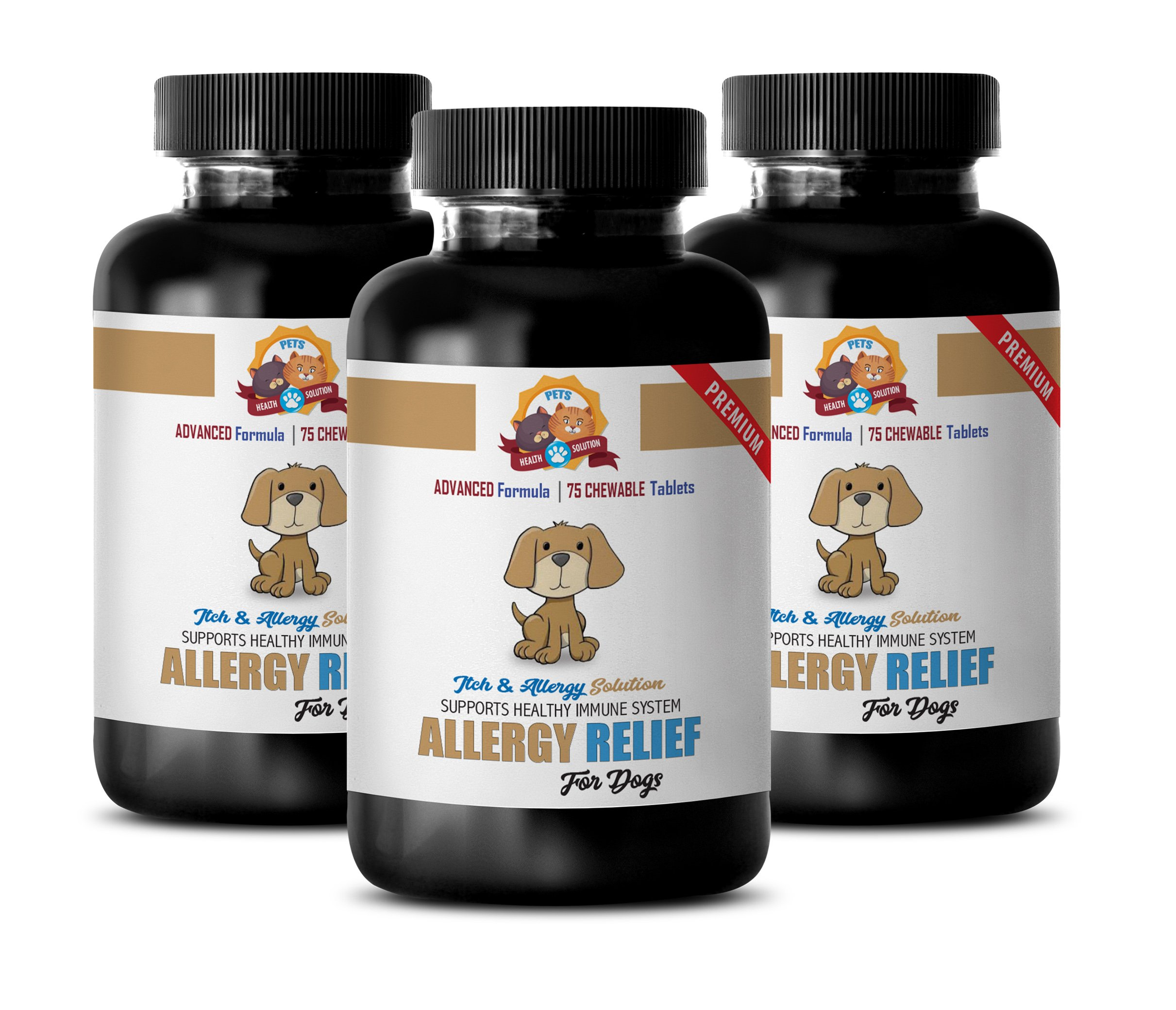 dog scratching relief - PREMIUM DOG ALLERGY RELIEF - ITCH AND IMMUNE SYSTEM SOLUTION - TREATS - burdock for dogs - 225 Treats (3 Bottle) by PETS HEALTH SOLUTION