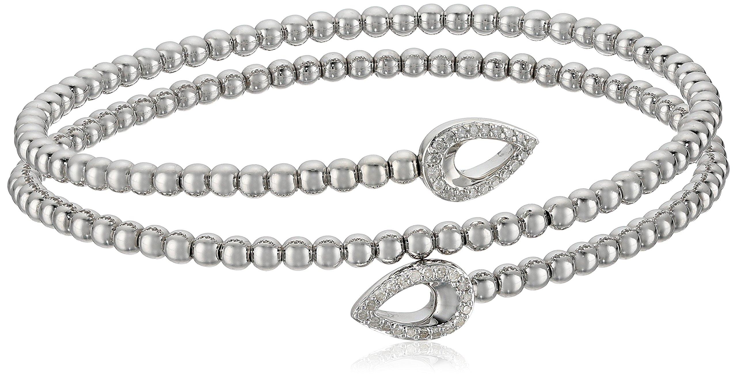 Sterling Silver Coil Bead Pear Design Diamond Wrap Bracelet (1/5cttw, I-J Color, I2-I3 Clarity)