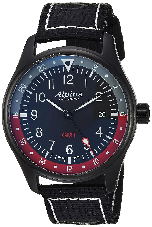 Alpina Men s Startimer Stainless Steel Swiss-Quartz Watch with Nylon Strap, Black, 21 Model AL-247BR4FBS6