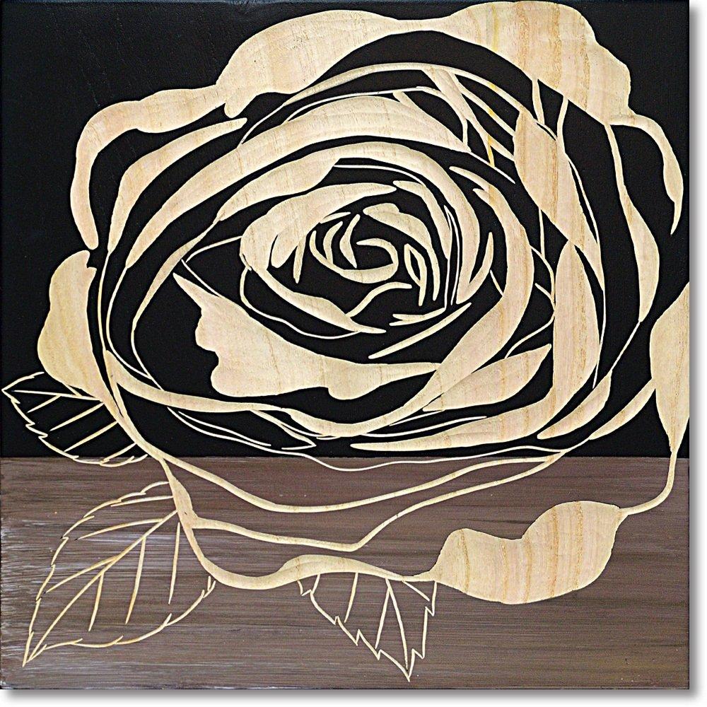 ユーパワー 植物花 ブラック W40xH40xD4cm B01MQI5V1O ブラック|葉1 ブラック